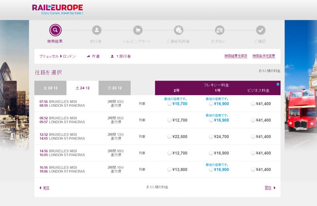 レイルヨーロッパ サイト画面